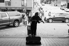 Pike Place, Seattle, WA (Asher Isbrucker) Tags: seattle street city people urban blackandwhite public silhouette washington market performance tourist violin instrument pikeplacemarket busker viola attraction busk