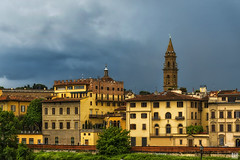 Dark skies over Florence 2 (BAN - photography) Tags: trees windows belltower spire tiles balconies riverbank darkcloud d800e
