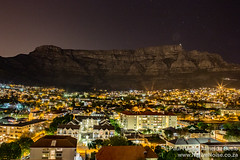 View of Cape Town and Table Mountain at night, from our room in the Garden's Centre, Cape Town
