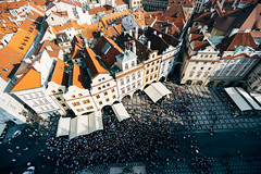 Old town square Praha (Hatoriz) Tags: above old city roof red people house building architecture square town europe cityscape republic view czech prague traditional famous crowd praha landmark tourist aerial roofs