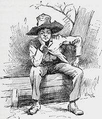 """""""Thinking it over"""" by E. W. Kemble from """"The Adventures of Huckleberry Finn"""" by Mark Twain. London (1884). 1st ed. (lhboudreau) Tags: illustration book etching drawing illustrations drawings piccadilly books huck marktwain bookart 1884 hardcover etchings samuelclemens huckfinn kemble firstedition vintagebook huckleberryfinn hardcovers classicfiction hardcoverbooks theadventuresofhuckleberryfinn hardcoverbook adventuresofhuckleberryfinn classicstory chattoandwindus classictale tomsawyerscomrade ewkemble chattowindus firstbritishedition firstukedition"""