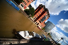 Temple Bridge Landing (sfryers) Tags: ex water architecture modern clouds bristol boats canal sigma landing mooring dg 1224 ultrawideangle