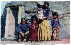 Navaho Indian Family and Hogan AZ (Edge and corner wear) Tags: family arizona vintage tour postcard indian az harvey fred navajo hogan gallup tours holbrook winslow navaho
