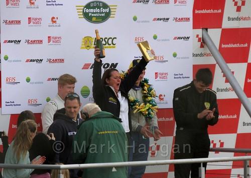 Series coordinator Julieann Bates celebrates at the Fiesta Junior Championship, Brands Hatch, 2015