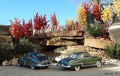 1948 Chevrolet Fleetline AeroSedan & 1949 Oldsmobile Rocket 88 Club Coupe (JCarnutz) Tags: 1948 chevrolet 1949 oldsmobile fleetline diecast rocket88 124scale danburymint aerosedan