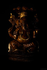 The Lord of Good Omen that Brings Prosperity and Luck, the Destroyer of Obstacles (robmanf55) Tags: india black dark ganesha god avatar faith religion lord luck ganesh sacred hinduism nero ganapati divinity prosperity scuro destroyerofobstacles blackintheback
