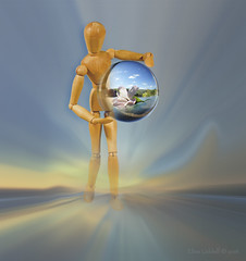 """""""Bring me sunshine...."""" (Elisafox22 slowly catching up ;o)) Tags: elisafox22 sony rx10iii sliderssunday wood mandy woodenmannequin crystal sphere orb ball crystalsphere flower sky sunshine skyscape emerging postprocessing photomanipulated texturing textures elisaliddell©2016"""