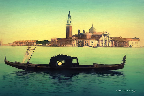 Digital Color Pencil Drawing of a Gondola Near the San Giorgio Maggiore in Venice by Charles W. Bailey, Jr.
