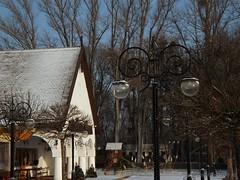 Street lamps in front of the Fishermen's Restaurant (andraszambo) Tags: keszthely balaton halászcsárda lakebalaton fishermen fishrestaurant csárda restaurant 20th century 20thcentury 20század famous híres hungary ungarn plattensee magyarország lamp streetlamp