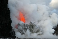 Explosion (BarryFackler) Tags: lava magma volcano glow steam explosion spatter kamokuna 2017 hydrovolcanic 61glavaflow lavaoceantours lavaone nps nationalparkservice nationalpark molten sea pacificocean water saltwater hawaiivolcanoesnationalpark lavaboat rocks mist lavarock ocean island hawaii kilauea bigisland puna hawaiicounty sandwichislands polynesia tropical marine aquatic nature vulcanism glowing barryfackler barronfackler hawaiiisland usnationalparkservice spectacle spectacular heat hawaiianislands geology waves beautiful cliff pali pele cloud kamokunalavaflow volcanology incadescent