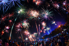 New Year in Kuta Bali (eggysayoga) Tags: nikon d7000 samyang rokinon bower 8mm fisheye fireworks firework newyear kuta legian bali indonesia crowd kembangapi pesta mercon malam night curve longexposure sky le ss stack stacks stacking