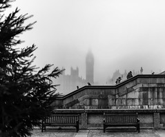 Westminster in the Fog - London by Simon & His Camera (Simon & His Camera) Tags: bigben clock tower fog mist city urban people tree stairs bench westminster building weather winter architecture bw blackandwhite monochrome iconic london landscape outdoor parliament simonandhiscamera thames