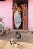 Local Brood (peterkelly) Tags: digital canon 6d india asia alipura woman doorway door chickens hen chicks pink orange home house building village