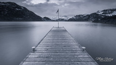 The jetty ... (Mike Ridley.) Tags: winter snow mountains jetty lakedistrict lake cumbria mono cyan nature longexposure cold sonya7rll sonyfe1635f4 mikeridley ullswater
