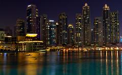 Downtown Dubai, UAE (Bokeh & Travel) Tags: dubai downtown skyscrapers fountain cityscape nightscape nightlights nightimage longexposure bluehour blueevening burjkhalifa architecture landscape colorful united arab emirates uae