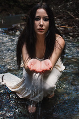 Fountain (SydneyJanelle) Tags: nature forest forester trees tree water lake stream river sea ocean green growth redwoods redwood model alternative goth gothic girl