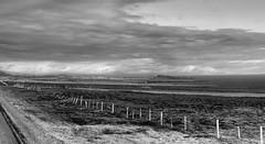 fences as far as the eye reaches - HFF! (lunaryuna) Tags: iceland northiceland landscape panoramicviews mountainrange coast pastures sea bays fences fencefriday blackwhite bw monochrome lunaryuna snowcappedmountains