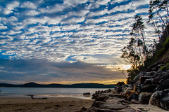 Early morning at the beach (Merrillie) Tags: daybreak uminabeach sunrise nature australia mountains nswcentralcoast newsouthwales clouds nsw uminapoint beach scenery centralcoastnsw landscape seascape waterscape centralcoast sea water