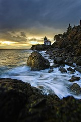 Lighthouse at Sunset (Mstraite) Tags: sunest landscape rocks waves water ocean lighthouse sky clouds cloud color coast beach washington san sanjuan island pudget sound