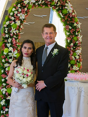 Bride and Groom at Philippines Wedding (WOW Philippines Travel Agency) Tags: wedding bride groom flowers roses bouquet food weddingfood cake philippines filet mignon bearnaise sauce ravioli duck liver smoked salmon parmesan cutting display pink icing table party setup rings beautiful cream artichoke soup canonigo mango balls