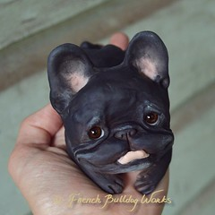 just finished this one and he will be for adoption soon (French Bulldog Works) Tags: portrait sculpture dog pet brown cute smile face work puppy french happy one memorial sweet ooak bat ears bulldog kind clay works frenchie brindle bully dasha francais batdog smooshy flatface bouledogue goux batpig gouc