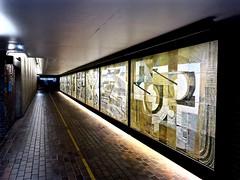 Mural, Barbican, London (Tim Richey) Tags: abstract london art subway 60s mural illumination illuminated barbican tiles walkway passage