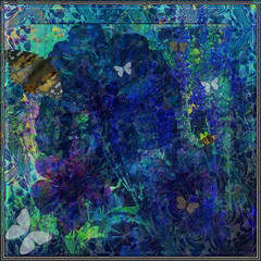 Framing A Daydream (virtually_supine) Tags: blue collage photomanipulation frames creative butterflies vividcolour textures montage mauve layers borders pressedflowers photoshopelements9 kreativepeopletreatthis95 sourceimageperennialsbybrillianthues drieddogroses