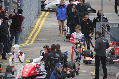 Ben Barnicoat heading for the grid for the first Renault 2.0 race at Silverstone 2015