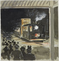 King and Elizabeth St. drawn on the first night that the first tram ran, c. 1879 / drawn by J. Flynn (State Library of New South Wales collection) Tags: trams statelibraryofnewsouthwales
