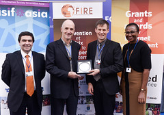 ISIF ASIA and FRIDA AWARDS 2012 .Raul Echeberría, Anne Rachel Inné, AFRINIC COO  & Paul Wilson, APNIC Director general Event presents Jens Karberg, ICT for development at Sida with a dish in appreciat