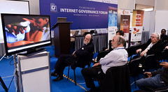 ISIF ASIA and FRIDA AWARDS 2012 . Vint Cerf watches the media presentation during the awards event. ..Event was held at the 7th Internet Governance Forum  (IGF) annual  meeting held at the Baku Expo E
