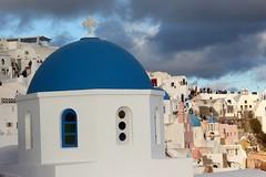 Church dome (Nagarjun) Tags: blue sunset sun white church island volcano evening europe glow santorini caldera oia cyclades mediterranian firostefani aegeansea