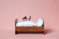breakfast in bed (virginhoney) Tags: pink brown white breakfast studio table miniature bed chair furniture cardboard tiny breakfastinbed atelier