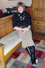 tan tulip skirt with boots (krislagreen) Tags: black belt boots cd tan skirt redhead tgirl transgender transvestite crossdress tg tneck feminized