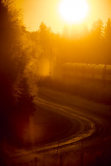 Beautiful winter day in Sweden (Darksidedesign) Tags: winter sunset orange cold sol nature beautiful train sunrise vinter woods sweden natur railway glowing northland platser jrn norrland rstid