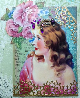 Vintage Lady with Jeweled Hair ATC