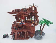 TT:R1: Something Valuable... (W. Navarre) Tags: lego potc pirates pirate ship wreck shipwreck brown tourney tt r1 palm cabin captain deck rigging water rock green cannon