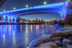 35W Bridge (Sam Wagner Photography) Tags: 35w bridge lock dam minneapolis skyline cityscape magic blue hour winter mississippi river ice cold