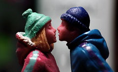 """The space between us...Love! ❤️ (*Millie* """"Catching up slowly"""") Tags: figurine winter kiss christmas thespaceinbetween dolls plastic raynoxdcr250 macro macromondays stilllife tabletopphotography"""