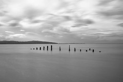 b n w posts (cathbooton) Tags: sea tide filters le bigstopper wirral caldy posts pier aged worn weathered bnw bw longexposure tripod vanguard sky clouds hills canoneos canonusers canon6d