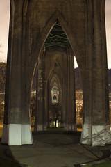 Underneath the St. Johns Bridge (Curtis Gregory Perry) Tags: portland oregon stjohns bridge night arch support longexposure nikon d810