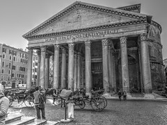 Pantheon (Vasil Gochev) Tags: pantheon former roman temple church buildings oldest standing domed structure rome italy europe landmark art culture people tourist tour tourism travel world sky horse carriage bella mattina italiano monochrome blackandwhite outdoor light in