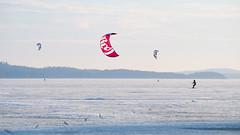 Gone With The Wind (@Tuomo) Tags: finland jyväskylä säynätsalo päijänne ice lake kite kitesurfing cold nikon df nikkor 300mm pf landscape red