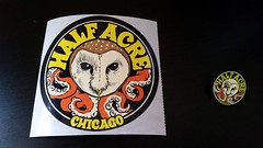 Half Acre Brewery swag (happily Evan after) Tags: half acre brewery chicago sticker pinback