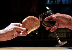 The Toast (ricko) Tags: glass bread hands wine toast toasting werehere mdpd2015 mdpd1508