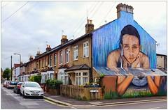 Graffiti (?), East London, England. (Joseph O'Malley64) Tags: uk greatbritain england streetart london wall graffiti mural paint britain spray british walls cans aerosol cornerhouse eastend eastlondon wallmural paintroller muralist pineend