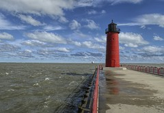 Port of Milwaukee, Lake Michigan, Wisconsin USA (MalaneyStuff) Tags: red usa lighthouse lake fall water wisconsin clouds nikon october sunny lakemichigan milwaukee pierhead pierheadlighthouse d5100 mkelakefront20151002