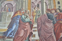 Detail from St Joachin is driven from the Temple. (greentool2002) Tags: life santa italy st temple florence maria basilica main chapel virgin workshop tuscany firenze maggiore scenes domenico cappella 1485 frescoes novella joachin ghirlandaio 1490