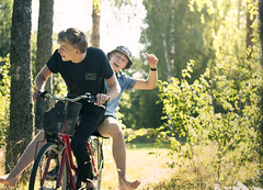 Paul & Fred | Biking (Jacob Thornas) Tags: sunset summer selfportrait green beautiful 50mm countryside twins nikon sweden fineart biking conceptual yellew paulandfred