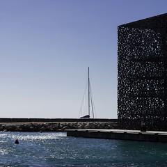 Sailing around Mucem (Clinexpat) Tags: blue sea art geometric water museum boat sailing shine line mast shining moucharabieh plateform